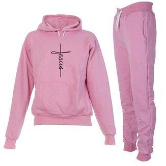 Conjunto Moletom Fe Jesus Infantil Juvenil Peluciado Rosa