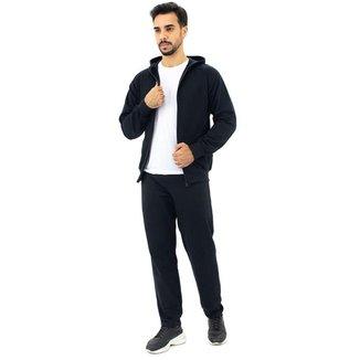 Conjunto Moletom  Flanelado Calça Jaqueta Com Capuz  Masculino