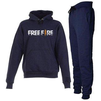 Conjunto Moletom Free Fire Infantil Juvenil Peluciado Azul Marinho