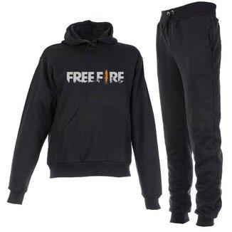 Conjunto Moletom Free Fire Infantil Juvenil Peluciado Preto