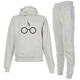 Conjunto Moletom Harry Potter Infantil Juvenil Peluciado Cinza