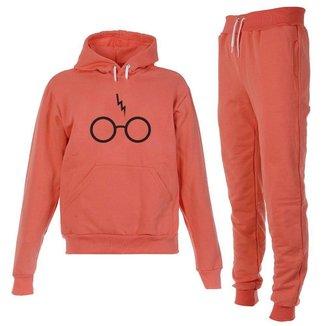 Conjunto Moletom Harry Potter Infantil Juvenil Peluciado Coral