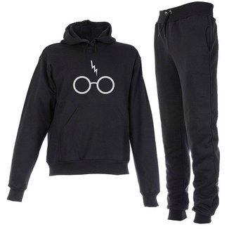 Conjunto Moletom Harry Potter Infantil Juvenil Peluciado Preto