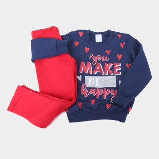Conjunto Moletom Infantil Malwee Peluciado You Make Me Happy Feminino