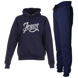 Conjunto Moletom Jesus Infantil Juvenil Peluciado Azul Marinho