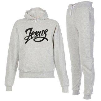 Conjunto Moletom Jesus Infantil Juvenil Peluciado Cinza