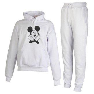 Conjunto Moletom Mickey Infantil Juvenil Peluciado Branco