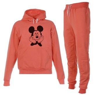 Conjunto Moletom Mickey Infantil Juvenil Peluciado Coral