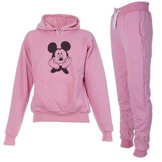 Conjunto Moletom Mickey Infantil Juvenil Peluciado Rosa