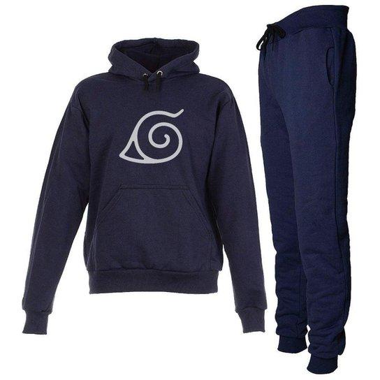 Conjunto Moletom Naruto Infantil Juvenil Peluciado Azul Marinho - Azul