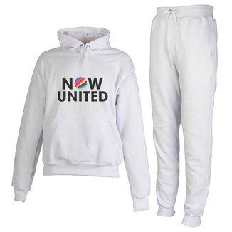 Conjunto Moletom Now United Infantil Juvenil Peluciado Branco