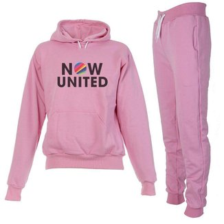 Conjunto Moletom Now United Infantil Juvenil Peluciado Rosa