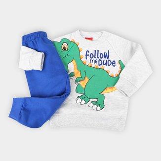 Conjunto Moletom Peluciado Bebê Kyly Dino Blusa + Calça Masculino