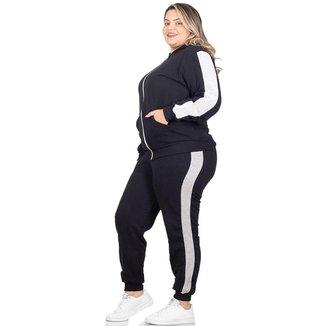 Conjunto Moletom  Plus Size Jaqueta Calça Flanelado Feminino