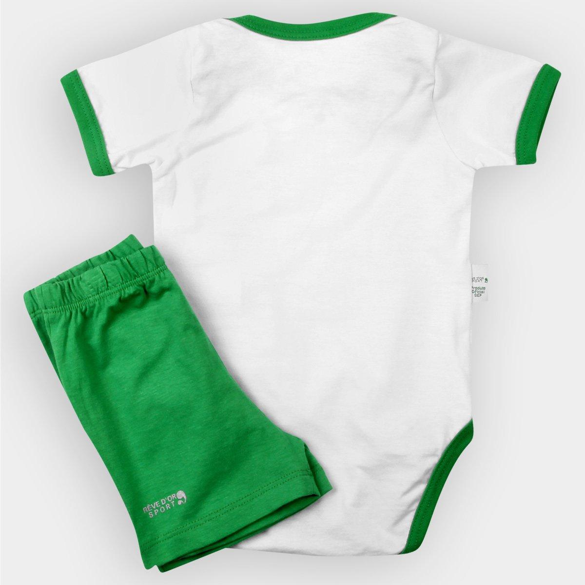 Conjunto Palmeiras Bebê Body Shorts e Meia - Verde e Branco - Compre ... 7ad643a11dbc2