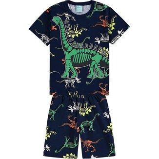 Conjunto Pijama Dinossauro Camiseta e Bermuda - KYLY - Lukas Kids Moda Infantil