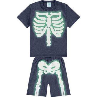 Conjunto Pijama Esqueleto -  Camiseta e Bermuda - KYLY - Lukas Kids Moda Infantil