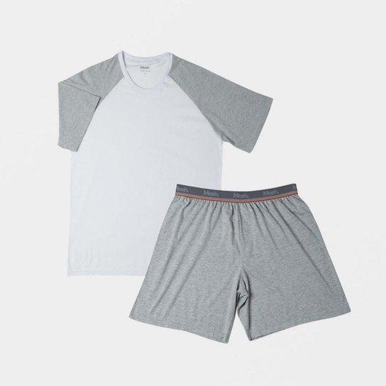 Conjunto Pijama Mash Curto Algodão Masculino - Cinza