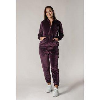 Conjunto Plush Comfy Jaqueta Mais Calça Roxo