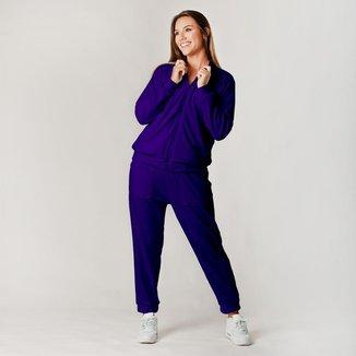 Conjunto Plush Comfy Jaqueta Mais Calça