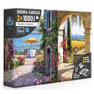 Conjunto Quebra-Cabeças Toyster 1.000 Peças Cada Recantos Italianos Toscana e Vinha Italiana