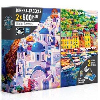 Conjunto Quebra-Cabeças Toyster 500 Peças Cada Litorais Europeus Grécia e Itália