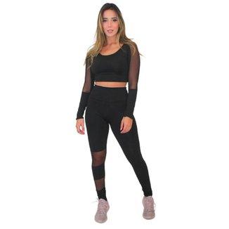 Conjunto Racy Fitness Cropped Calça Legging Detalhe Transparente Feminino