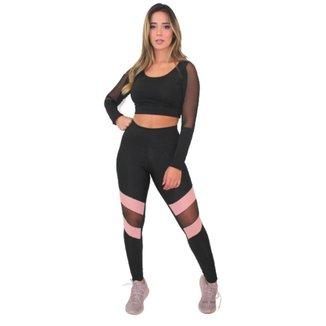 Conjunto Racy Fitness Cropped Manga Longa+Calça Legging Feminino