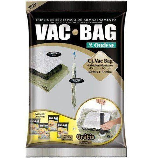 Conjunto Saco a Vacuo com 4 unid. Médio + Bomba - Vac Bag - Amarelo