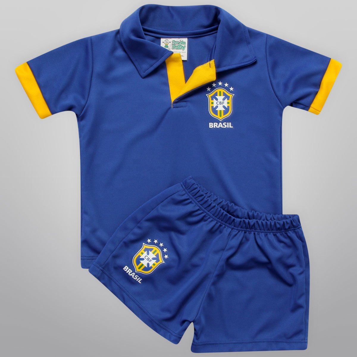 1e1b37a369 Conjunto Seleção Brasil Camisa Polo e Short Infantil - Compre Agora ...
