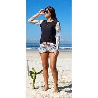Conjunto Shorts e Camiseta Manga Longa Aquarela Beach Tennis