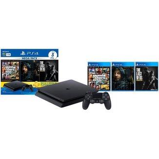 Console PlayStation 4 Mega Pack Bundle V9 1TB - Sony + 1 Controle + 3 Jogos
