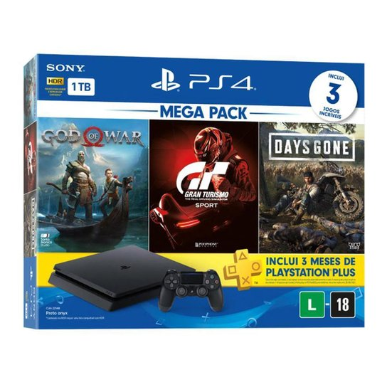 Console PlayStation 4 Slim 1TB Bundle 12 + Gran Turismo Sport + God of War + Days Gone - Preto
