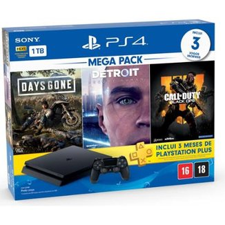 Console Playstation 4 Slim 1TB Bundle Hits Days Gone, Detroit,  Call of Duty Black Ops 4 - Sony BR