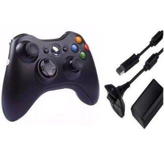 Controle compativel para  X Box 360 Sem Fio e bateria Recarregável - Importado / marca j.x