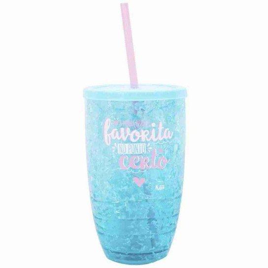 Copo Canudo Azul Gel Congelante 500ml - Projeto Kiwi - Azul Claro