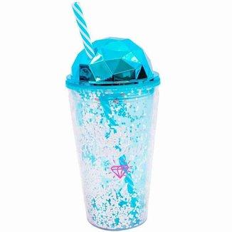 Copo Canudo Azul Semi Esfera Brilhe Como Um Diamante 450ml - Projeto Kiwi