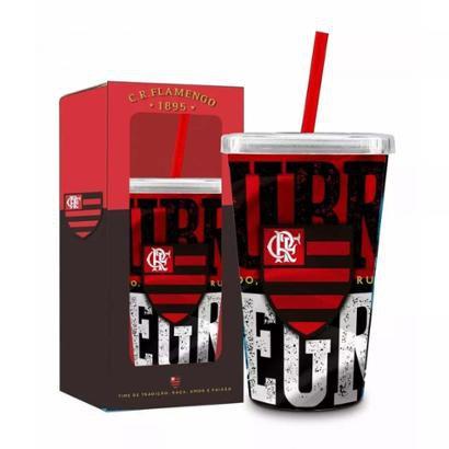 Copo Canudo Flamengo Rubro Negro - Vermelho e Preto - Compre Agora ... e74dfd5e97b