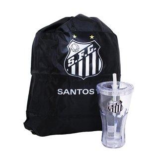 Copo Com Canudo 550ml E Mochila Tipo Saco - Santos