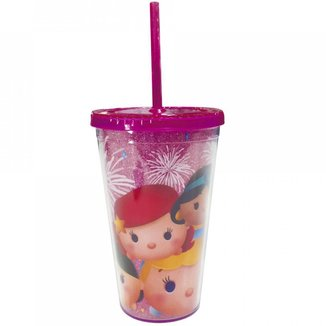 Copo Com Canudo Princesas Tsum Tsum 450ml - Disney