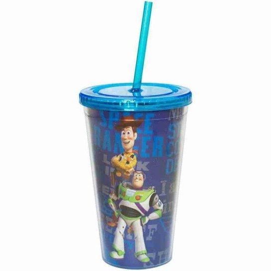 Copo Com Canudo Toy Story 450ml - Disney - Azul Claro