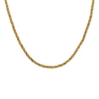Corrente Ouro 18K Malha Corda Tricolor 50cm - CR5264