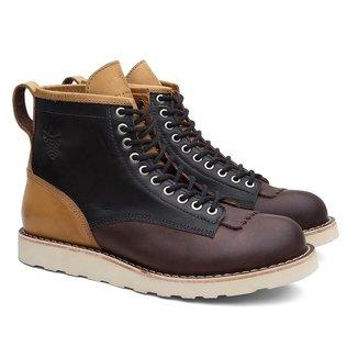 Coturno Black Boots Couro Cano Médio Recortes Casual