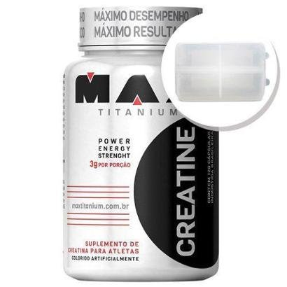 Creatina – 120 cápsulas + Porta Cápsulas transparente – Max Titanium