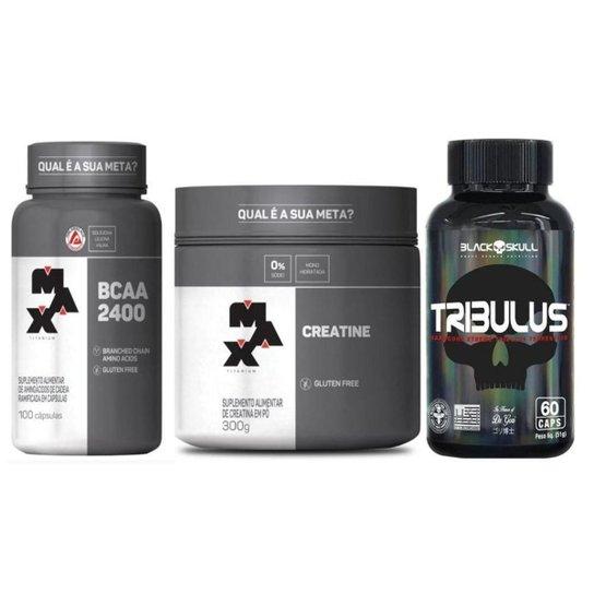 Creatina 300g + BCAA 2400 100 capsulas + Tribulus 60 capsulas -