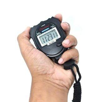 Cronômetro Digital Esportivo com Relógio Data Contagem Regressiva  1/100 Segundos
