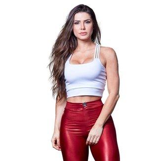 Cropped Feminino Fitness Poliéster 3 Tiras Branco