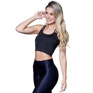 Cropped Feminino Fitness Poliéster 3 Tiras Preto