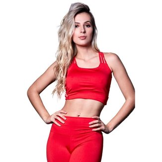 Cropped Feminino Fitness Poliéster 3 Tiras Vermelho