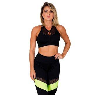 Cropped Feminino Fitness Poliéster Laís . Preto